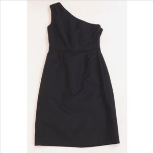 J Crew Cady Cotton Black One Shoulder Dress Sz 0